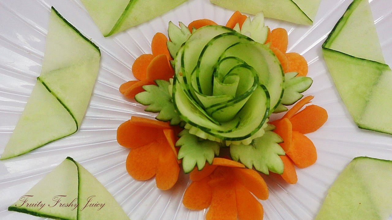 Beautiful Cucumber Rose & Carrot Flower Design - Best Vegetable Carving Garnish