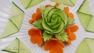 Beautiful Cucumber Rose & Carrot Flower Design - Best Vegetable Carving Garnish