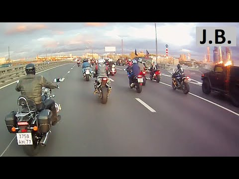 Biker column ride to Tito & Tarantula concert in MOSCOW