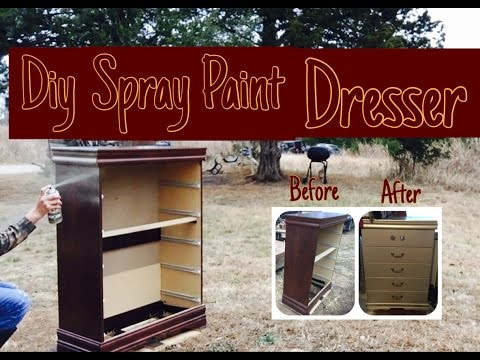 How to spray paint dresser/ furniture DIY project champagne color