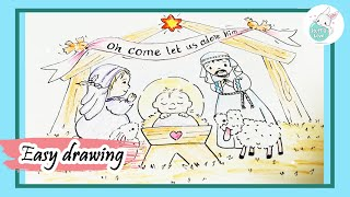 The nativity of cute baby Jesus or birth of Jesus scene drawing for kids