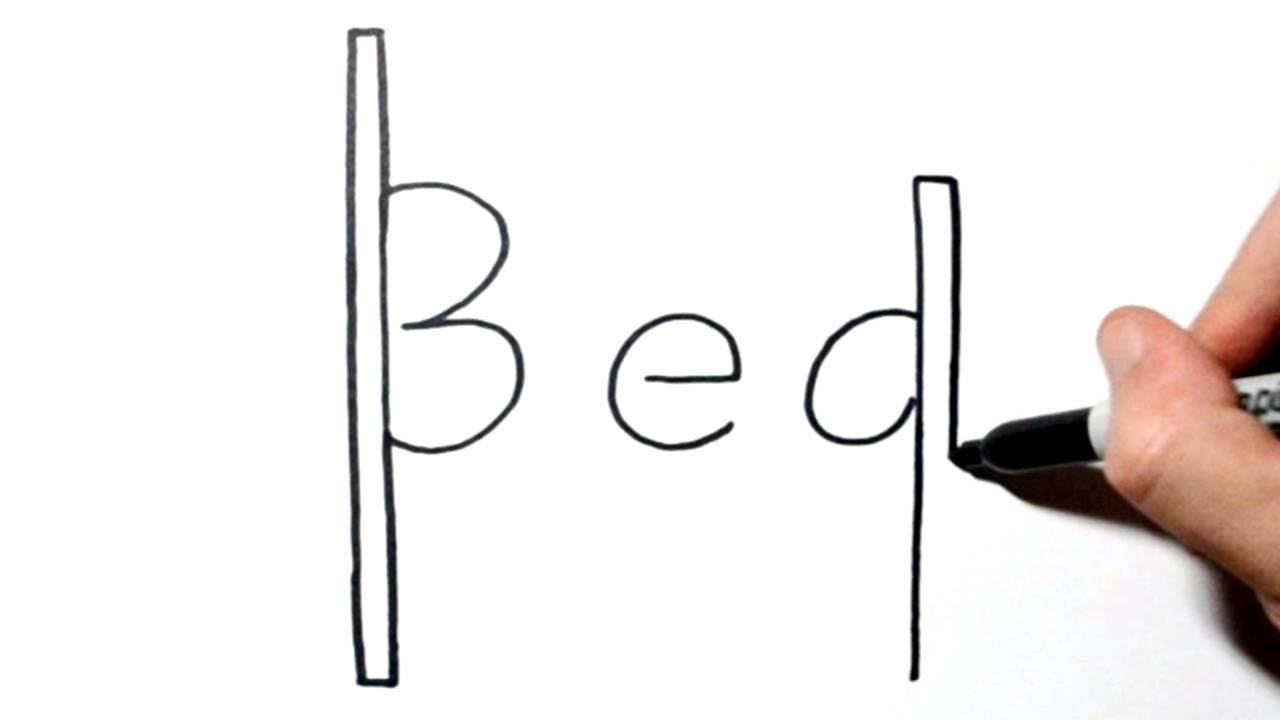 How To Draw A Bed Using The Word Bed Youtube