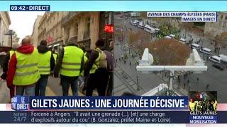 À Paris, un groupe de gilets jaunes remonte les Champs-Elysées