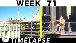 One-week construction time-lapse w/over 30 closeups: Week 71: Ironworkers; cranes; welders; more