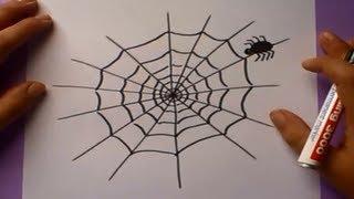 Como dibujar una telaraña paso a paso | How to draw a web