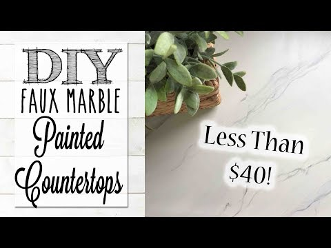 DIY Painted Countertops Under $40!  | Faux Marble Finish