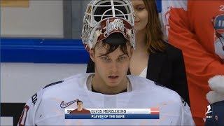 Elvis Merzļikins Player of the Game vs. USA (2018 WMHC Preliminary Round)