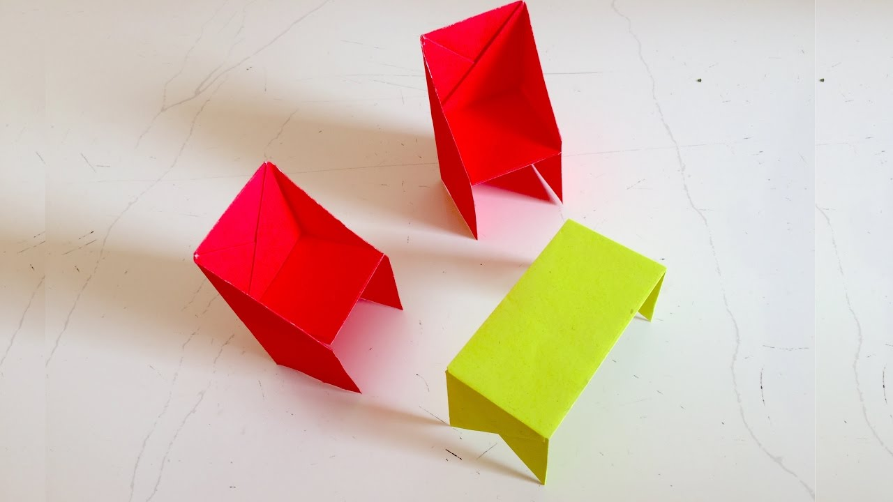 How to make an Origami Table Chair   Paper chair table ...