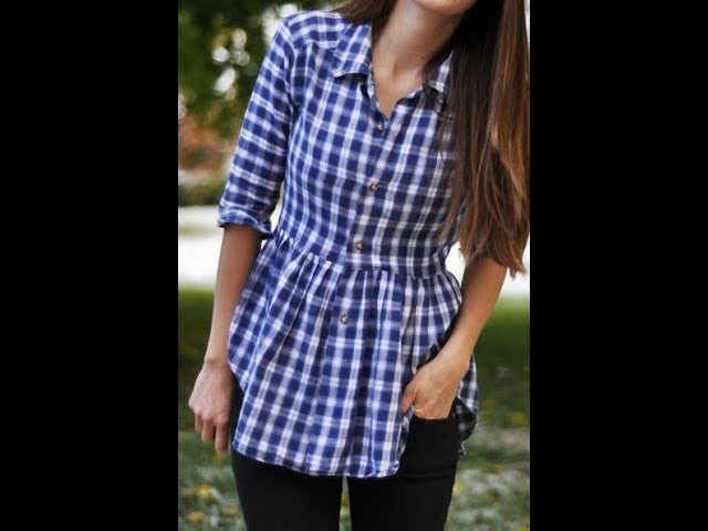 DIY,  Button up  gathered shirt, cutting and stitching