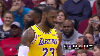 LeBron James Hits the Referee With Ball, Referee Smiles - Lakers vs Rockets   Dec 13, 2018