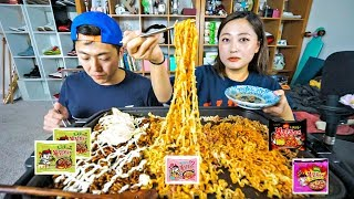 4 Different Fire Noodles Collection Mukbang! (carbonara, black bean, mala and original~)