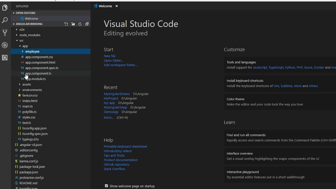 Angular 5 and 4 Data Binding (Select DropDown List) Using CLI Visual Studio  Code