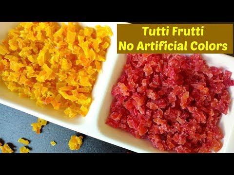 Homemade Tutti Frutti with No Artificial Colors | Naturally colored Homemade Tutti Frutti
