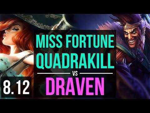 MISS FORTUNE vs DRAVEN (ADC) ~ Quadrakill, KDA 20/2/9, Legendary ~ Korea Diamond ~ Patch 8.12