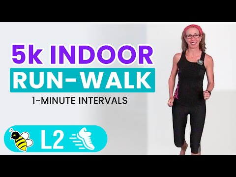 5k (3.1 Miles) Indoor RUN + WALK With 1 Minute Intervals | 35 Minute Fun Run, Learn To RUN At HOME