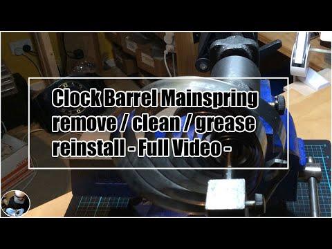 Servicing A Clock Barrel Mainspring, Remove/clean/grease/reinstall- Full Video #americanclockrepairs
