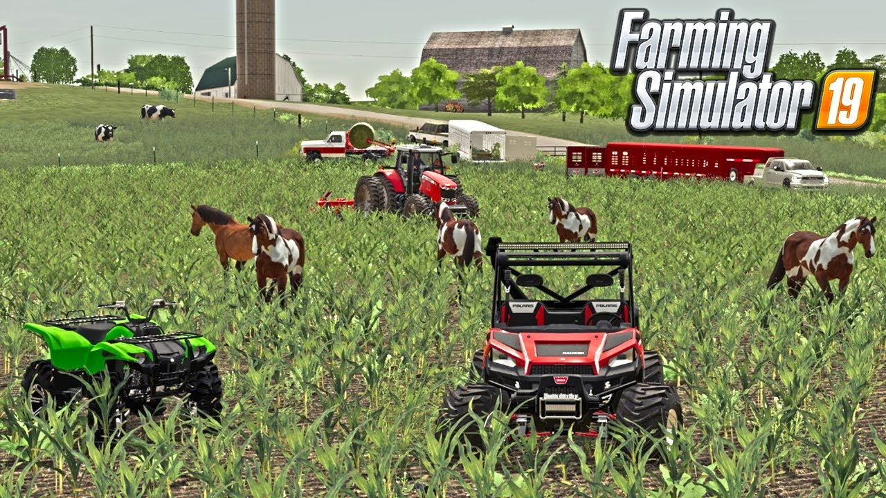 HORSES ESCAPE AND DESTROY NEIGHBORS CORN FIELD (MISSOURI ROLEPLAY) FARMING SIMULATOR 19