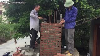 Amazing Technology Construction Columns Brick Correctly - Fastest Building Modern   House