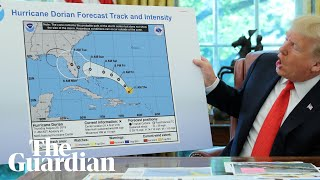Donald Trump displays Hurricane Dorian map apparently doctored with marker pen