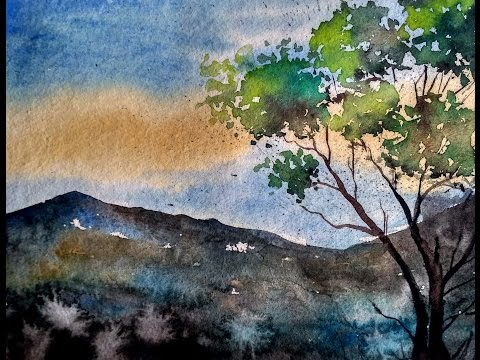 Simple Mountain Landscape Watercolor Painting Tutorial for Beginner