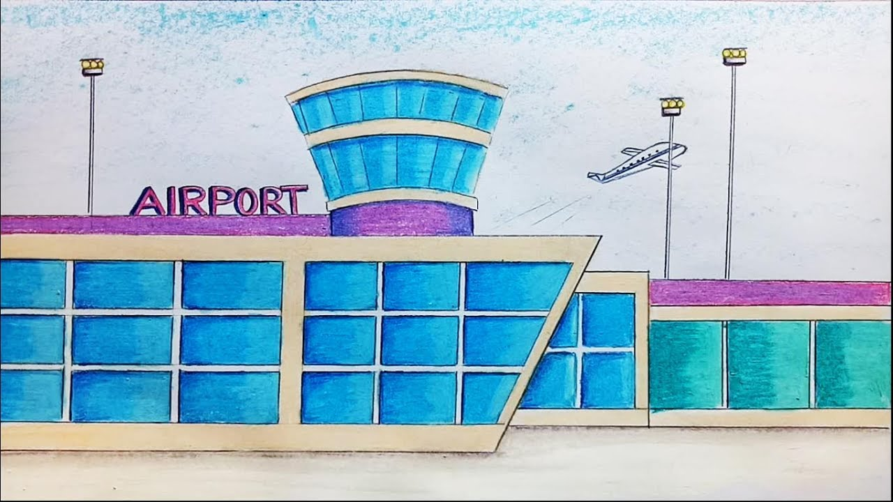 How To Draw Airport Step By Step Youtube