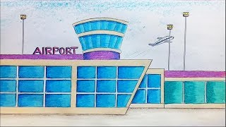 How to draw airport step by step