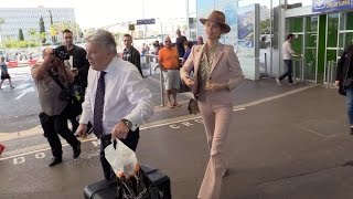 Top model Eva Herzigova arriving at Cannes airport
