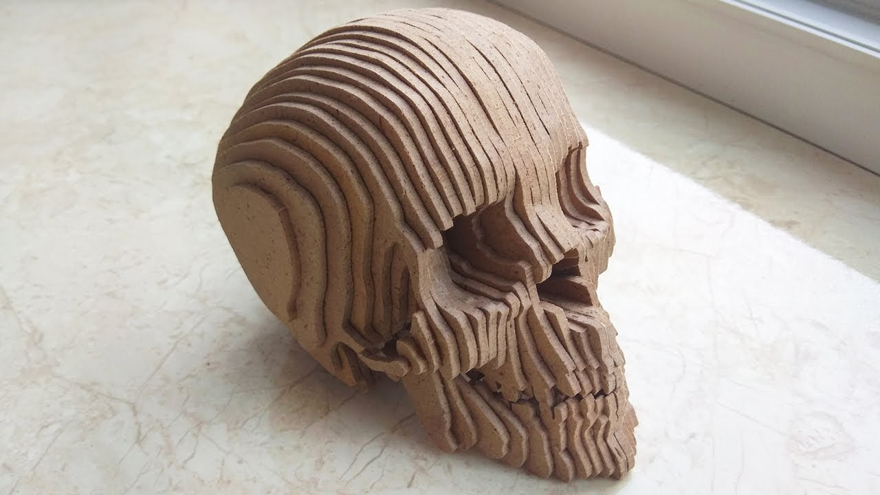 Skull - 3D compound scroll saw project - YouTube