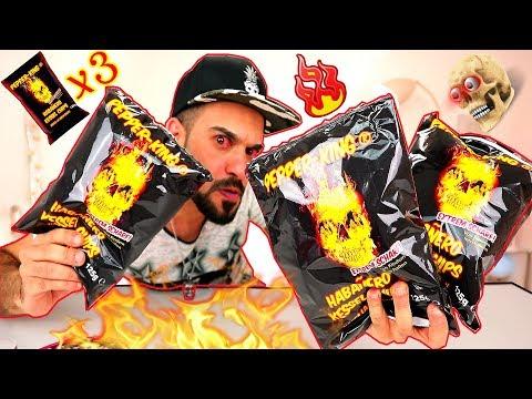 تحدي شيبس الموت او شبس الجمجمة المحترقة - احر واخطر شيبس في العالم ! Pepper King Chips Challenge