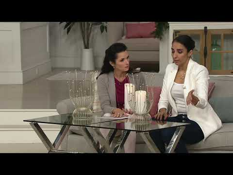 """Inspire Me! Home Decor 15"""" Hurricane with Decorative Beaded Tips on QVC"""