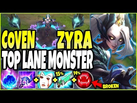 ZYRA IS A TOP LANE MONSTER 🔥 New Coven Zyra skin is EPIC 🔥 LoL TOP Zyra vs Rengar s10 PBE Gameplay