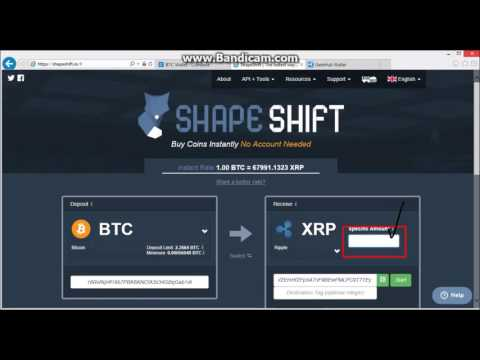 Deposit Ripple Into Ripple wallet on Gatehub from Coinbase. BTC to XRP with Shapeshift website