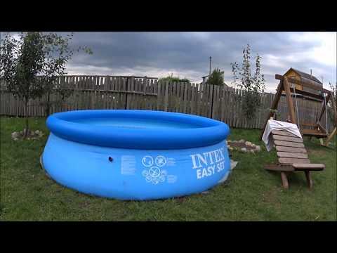 Надувной бассейн Intex диаметр 305см глубина76 .установка