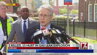 Durham officials hold press conference after 1 killed, 15 hospitalized in downtown explosion