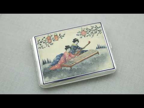 Austro-Hungarian Silver and Enamel Cigarette/Card Case - Antique Circa 1900 - AC Silver (A2538)