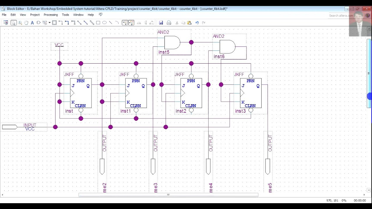 altera cpld basic tutorial case synchronous up counter 4 bit rh youtube com Piping and Instrumentation Diagram Quartus 13.1