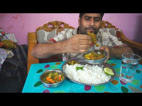 Eating show with sound | eating chicken curry and taki fish vorta