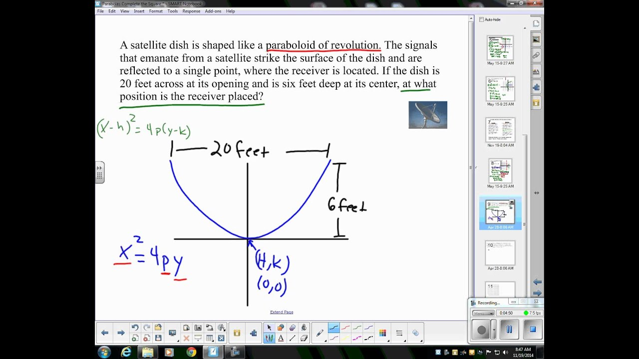 Parabola Satellite Word Problem November19 0850 Youtube