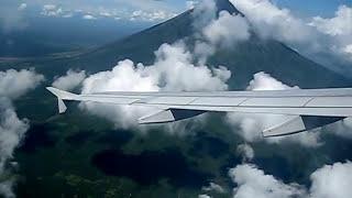Cebu Pacific Flies Near Mayon Volcano's Crater (4:22-4:50)