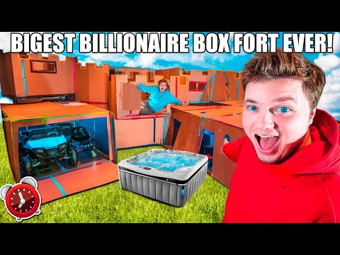 BIGGEST 24 HOUR BILLIONAIRE BOX FORT 4 STORY CHALLENGE! Elevator, Toys, Gaming Room, SPA & More!