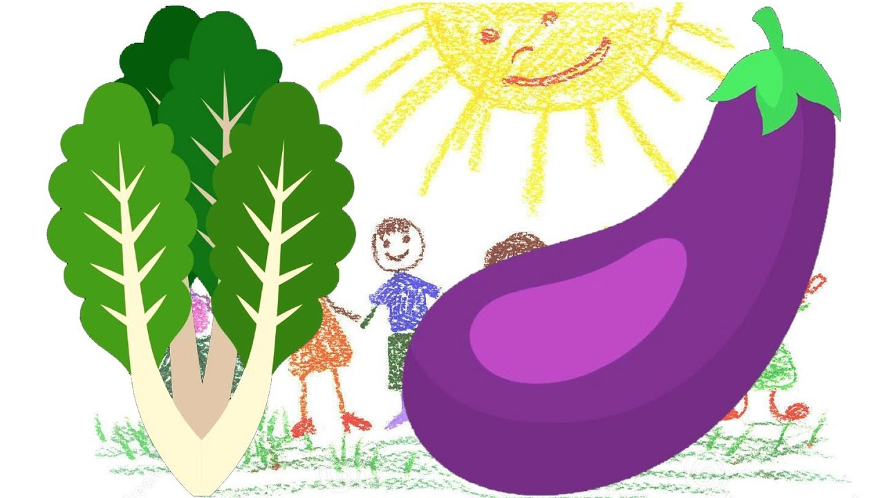 Eggplant and Lettuce Drawing for Kids | Vegetable Coloring Page for ...