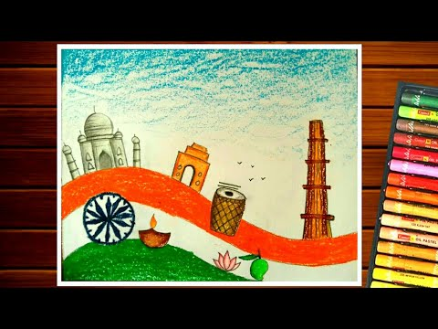Cultural diversity of india drawing for competition|| Incredible india drawing easy
