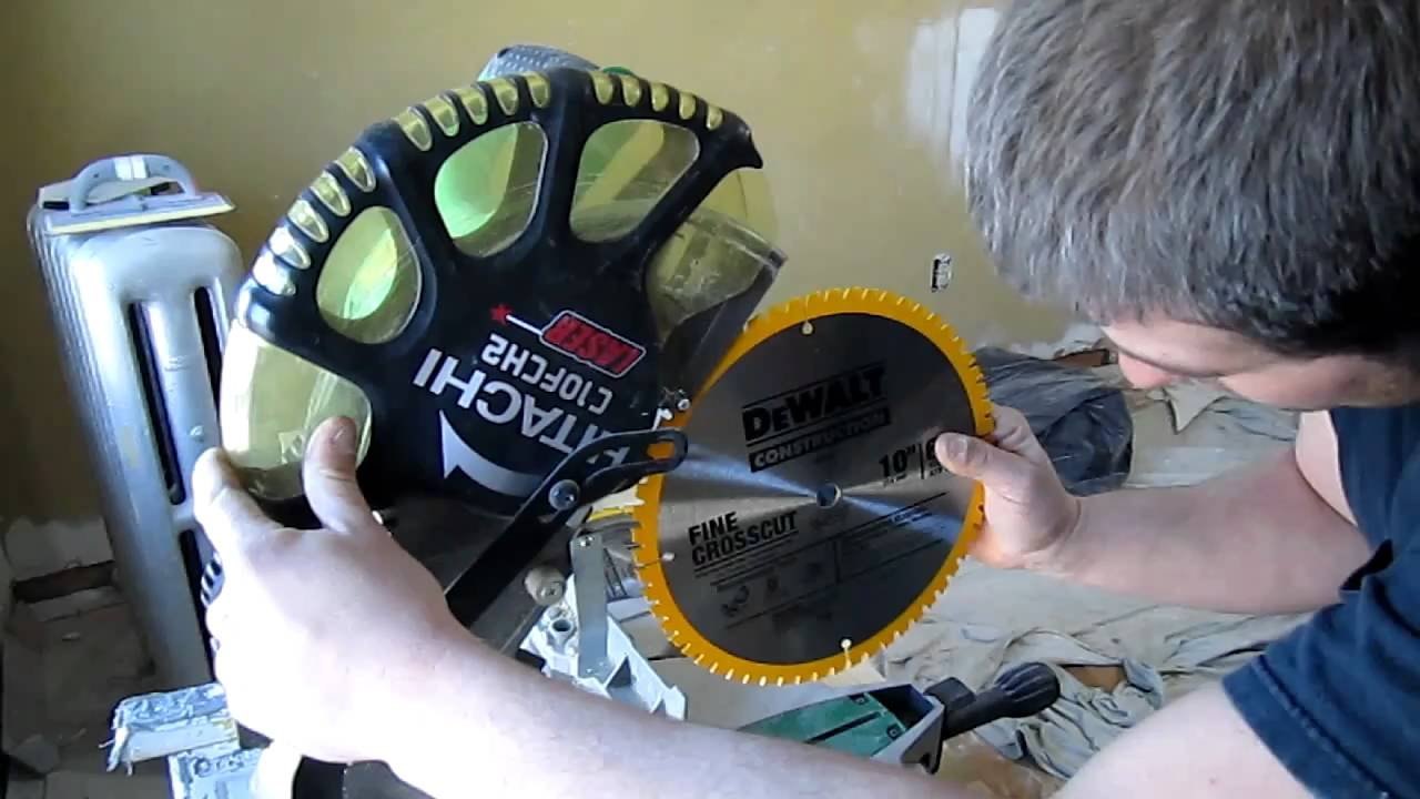 Changing a miterchop saw blade hitachi c10fch2 youtube greentooth Images