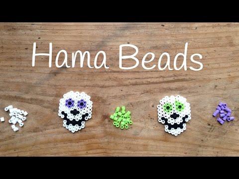 Calaveras de hama beads para Halloween, ideales para los niños