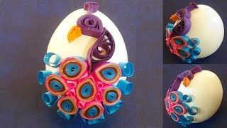 quilling artwork |  Easter Eggs decorated with quilled peacock