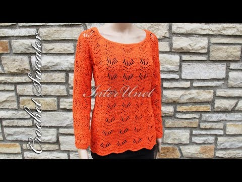 Sweater with long sleeves crochet pattern