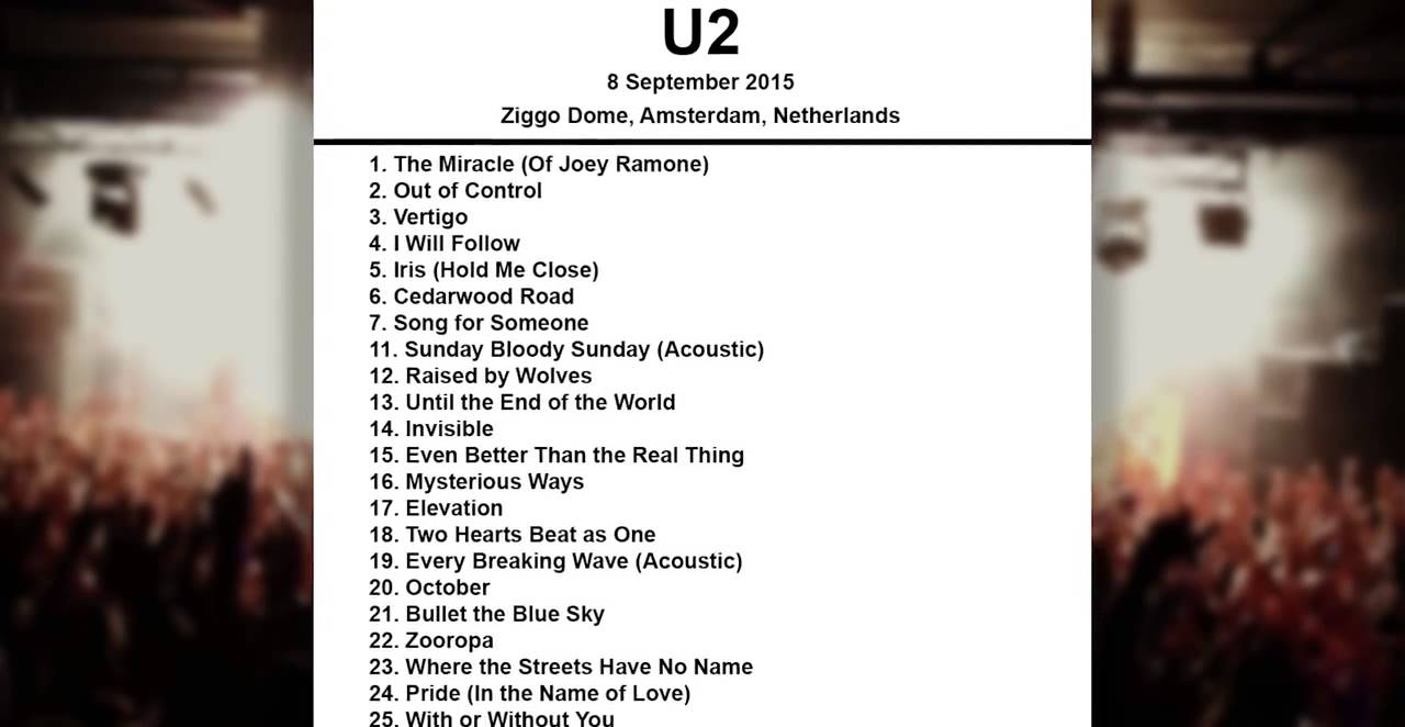 u2 live at ziggo dome amsterdam september 2015 full concert youtube. Black Bedroom Furniture Sets. Home Design Ideas