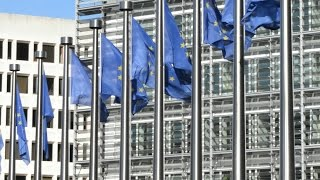 Flags Of The European Union At The Eu Commission In Brussels, Belgium. Stock Footage