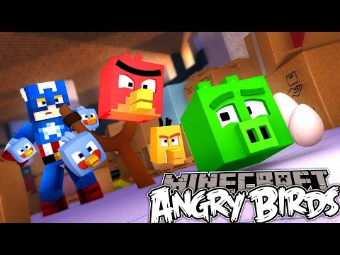 Minecraft MineVengers - DEFEATING THE PIGS WITH THE ANGRY BIRDS!!