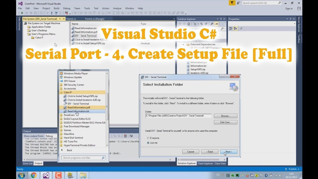 Visual Studio C# Serial Communication (Serial Port) tutorial - 4 Create  Setup File (4/6)